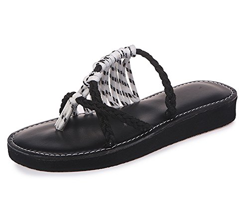 Rope Braided Palm Leaf Women's Summer Flat Sandals Maybest Flat Z White Shoes Sandals wOzXSqO8x