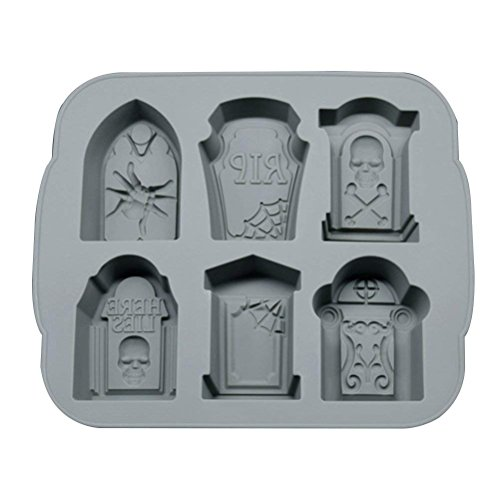 (Hilala Ice Cube Trays Silicone Chocolate Molds 3D Tombstone to baking Cake Candy Chocolate for Whiskey,Cocktails and Juice Beverages 6 cavities)