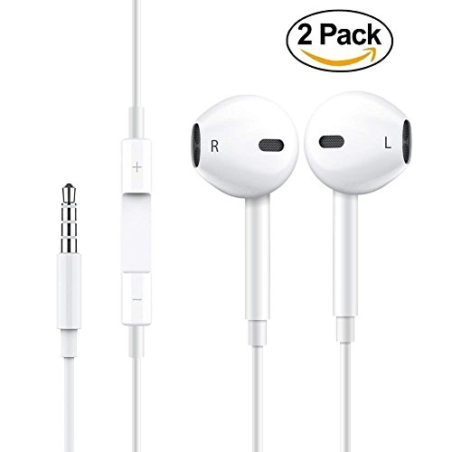 Earbuds Earphones Stereo Earphone Wired Noise Isolating Headphones with Mic and Remote Control for iPhone iPod iPad Samsung Android Smartphones Tablet Laptop 3.5mm [White] [2- Pack]…