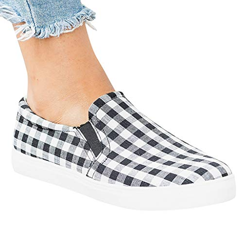 b557073045f7 VonVonCo Women's Ladies Fashion Casual Comfortable Canvas Large Size Flat  Casual Shoes Black