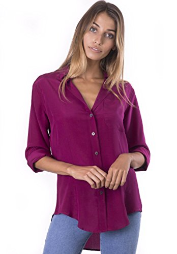 CAMIXA Womens 100% Silk Blouse Long Sleeve Ladies Shirts Slim-fit Button Up Pure XXL Wine
