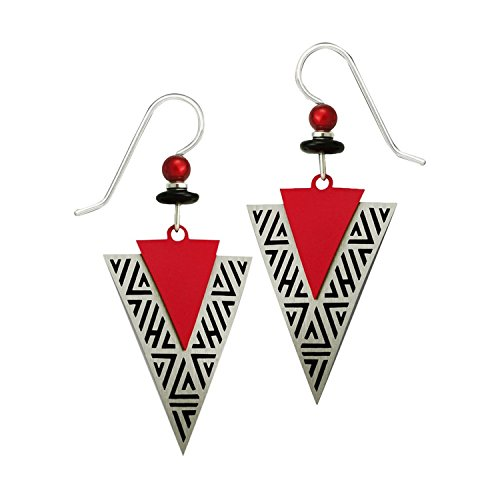 Adajio 2 Piece Lightweight Hand Painted Red Beaded Dangle Earrings Etched Brushed Metal Arrowhead