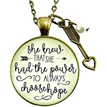 "24"" She Knew She Had the Power To Always Choose Hope Necklace Inspired Life Message Jewelry Arrow Charm For Women"