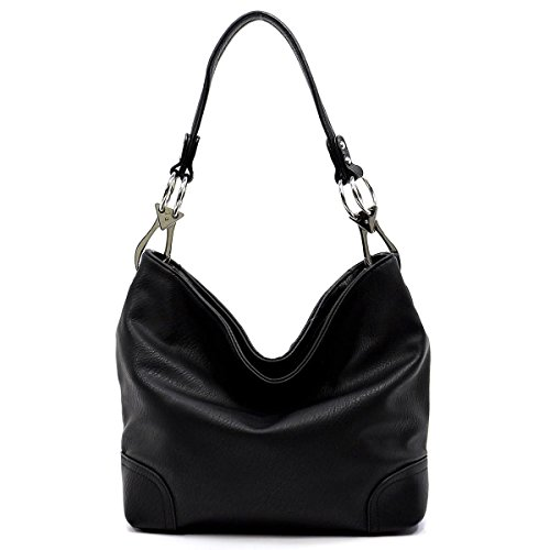 (Vegan Faux Leather Bucket Shoulder Handbag Classic Purse