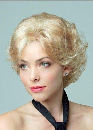 Nueva moda Haned Blanca Corta pelo rizado, europea y americana de gama alta fibra química