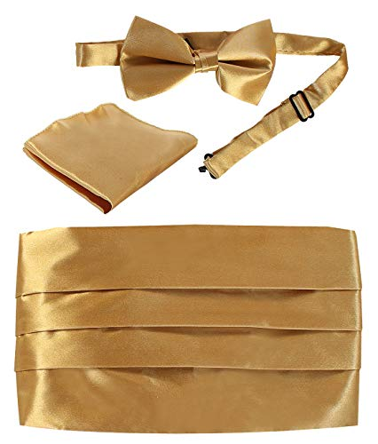 Gioberti Kids/Boys' Adjustable Satin Cummerbund Set With Formal Bow Tie and Pocket Square, Gold