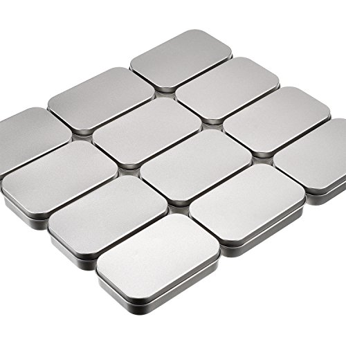 Shappy 12 Pack Basic Necessities Tins Silver Rectangular Empty Tins Storage Box Containers Mini Portable Box Small Storage Kit for DIY Use, Home Organizer, 3.7 x 2.4 x 0.8 Inch