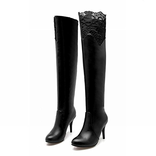 Lace Fashion Black Sexy Carolbar The Heel High Boots Over Slim Knee Women's pnOPx