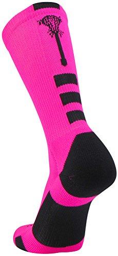 TCK Sports Lacrosse Logo Crew Socks (Neon Pink/Black, Large)