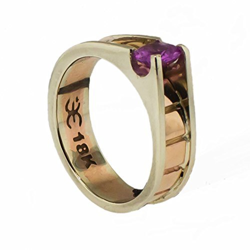 - Art Retro 18k Rose Gold & White Gold 1.25ct Natural Pink Sapphire Wide Band Ring
