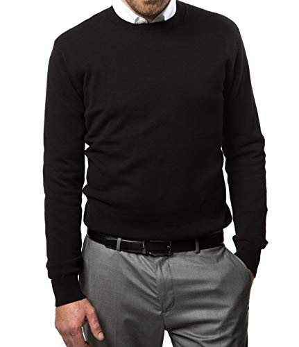 Marino Cotton Sweaters for Men - Lightweight Crewneck Men's Pullover - Black - ()