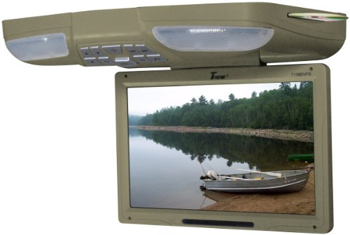 "TVIEW TAN 13"" Flip Down Car Monitor w/DVD Player USB"
