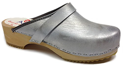 World of Clogs.com AM-Toffeln 100 Wooden Swedish Clog In Metallic Silver Silver 8H3or3