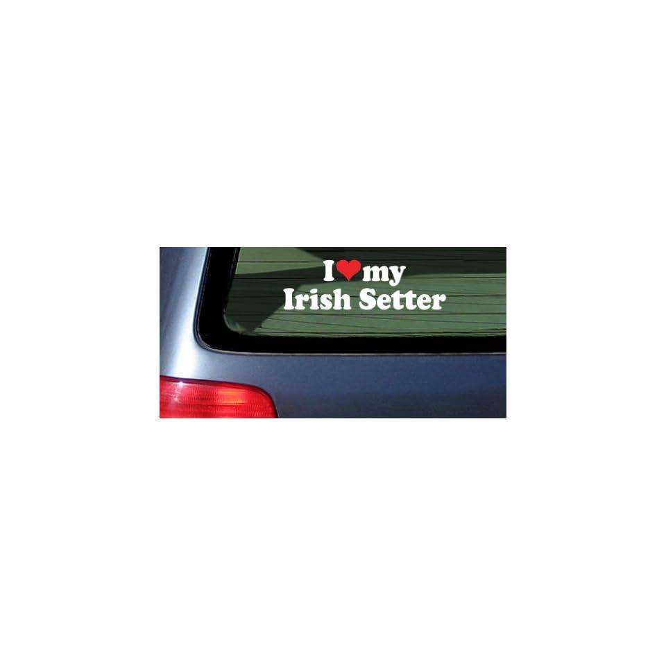 I Love Heart My Irish Setter White Vinyl Decal Sticker