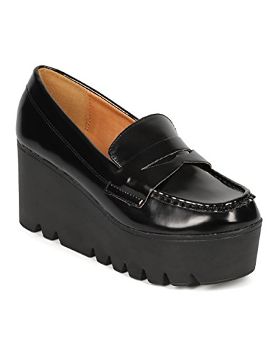 Women Patent Oxford Lug Sole Slip On Loafer Creeper Wedge CF62 - Black Leatherette (Size: ()