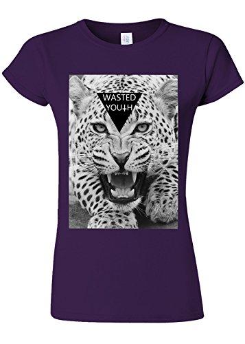 プラグ有能な思われるWasted Youth Tiger Roar Novelty Purple Women T Shirt Top-L