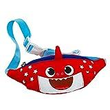 eroute66 Lovely Cartoon Shark Canvas Waist Bag Adjustable Strap Kids Crossbody Pouch - Red