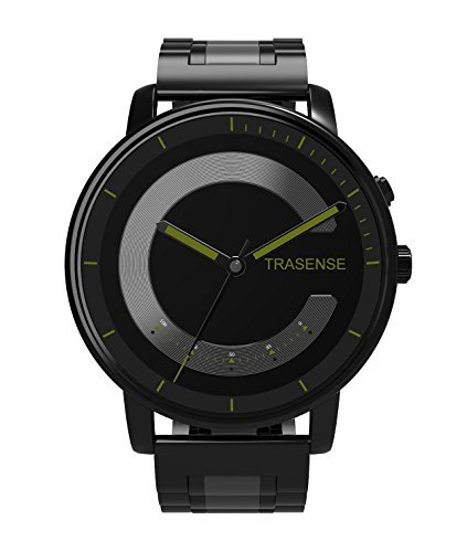 Trasense Hybrid Smartwatch with Stainless Steel Strap for iOS and Android Phone (Green Dial Stainless Steel Strap)