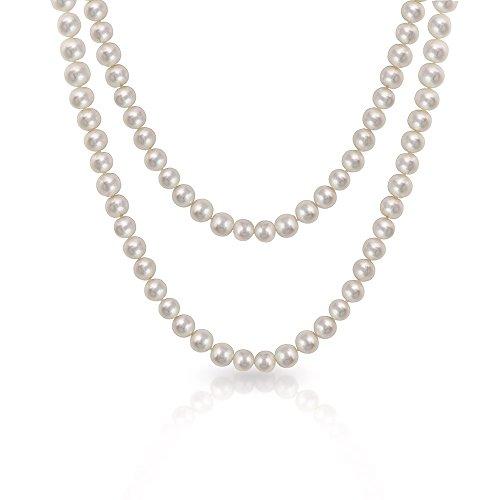 Bling Jewelry 9.5 to 10mm White Potato Freshwater Pearl Long Necklace Rope (Potato Pearl Long Necklace)