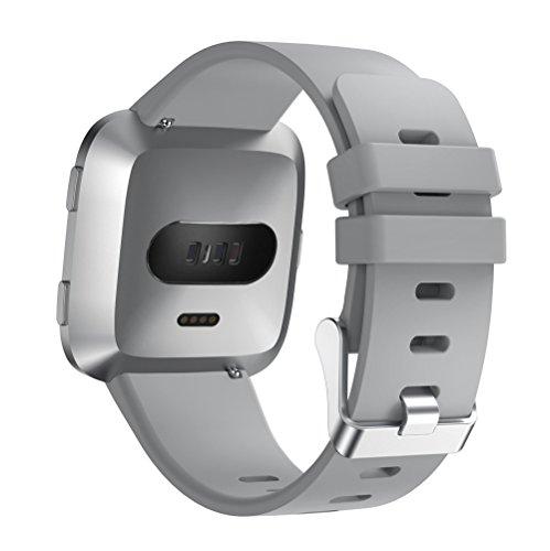 LANSKIRT Pulseras de Cuero de Lujo Muñequera de Repuesto Accesorios Correas Cambiar Correa Reloj Recambio Brazalete Extensibles Pulsera para Fitbit Versa: ...