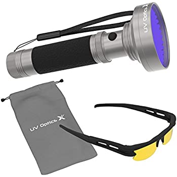 Powerful Black Light Flashlight 100 LED UV Light-Detects Pet Urine, Bedbugs, Mold, Scorpions, Insects, UV Leaks, Diamonds and More. Includes Free UV Optics X Safety Glasses and Camping Carry Bag