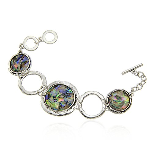 d Abalone Circle Disc Toggle Bracelet (Open Circle Toggle)