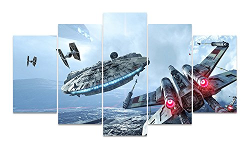 LMPTARTTM-60x32inches-Print-Millennium-Falcon-X-Wing-canvas-wall-art-painting-Star-Wars-Poster-for-Living-Room-Decor-painting-children-Decor-Print-Home-Decor-Wall-Art-Painting-Framed-ready-to-hang