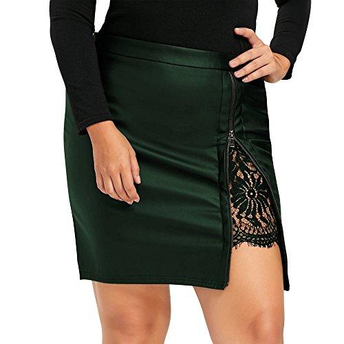 YTJH Standard Size Sexy Insert Lace Zip up PU Leather Shirtdress Dress for Women Girl Lady(Blackish Green, 4XL) by YTJH