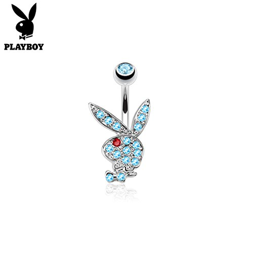- West Coast Jewelry {Aqua/Red} Multi Colored Gems on Playboy Bunny 316L Surgical Steel Navel Belly Button Ring (Sold Ind.)
