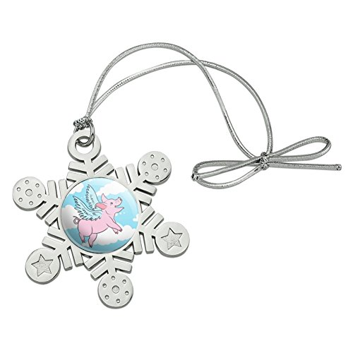 GRAPHICS & MORE Flying Pig in The Clouds Metal Snowflake Christmas Tree Holiday Ornament