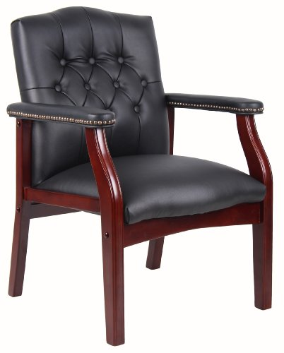 Wood Office Chair (Boss Office Products B959-BK Ivy League Executive Guest Chair in Black)