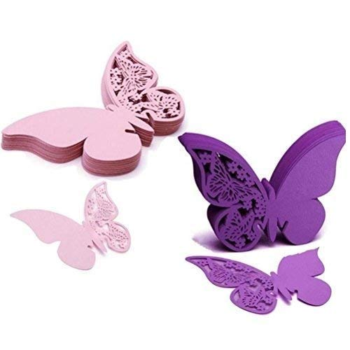 WarmShine 100 Pcs Butterfly Wine Glass Cards Name Place Cards Laser Cut Wine Cup Decoration Postcards Wedding Centerpieces Table Decoration (Pink&Purple) ()