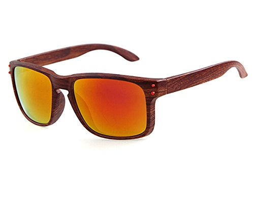 Heartisan Vintage Imitation Wood Frame UV400 Flash Mirror Sunglasses - Austrian Eyeglass Frames