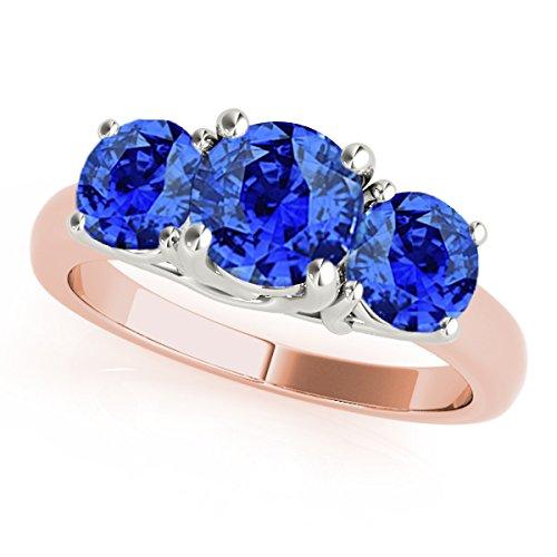MauliJewels 1 Ct. Ttw 3 Stone Two-Tone Tanzanite Ring in 14K Rose & White Gold - Two Ring Tanzanite Tone