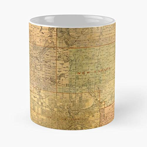 Map Of Minnesota Old Vintage Antique - 11 Ounce For Coffee, Tea, Cocoa And Mulled Drinks, The Best Gift Holidays.