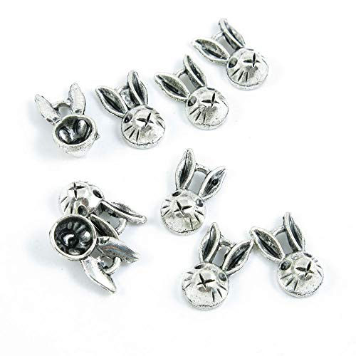 (1460 pcs Antique Silver Plated Jewelry Charms Findings Craft Making Vintage Beading C8ZG2R Rabbit Hare Head)