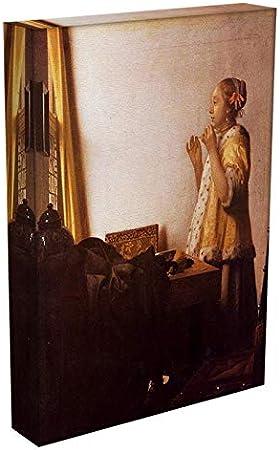 Collar de la Perla de Vermeer de Johaneses, Impreso en Lienzo, Arte Moderno con Impresiones en Lienzo Giclée, Tela, 16in x 12in | 40cm x 30cm