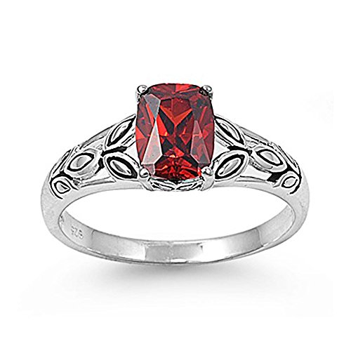 Oval Leaf Ring (Sterling Silver Celtic Leaves Ring with Oval Red Cubic Zirconia Stone - size 7)