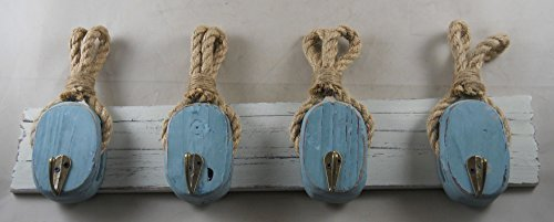 Wooden Rope Pulley Nautical Rack by GSM