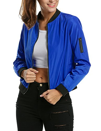 Zeagoo Womens Classic Quilted Jacket Short Bomber Jacket Coat, Blue, Medium
