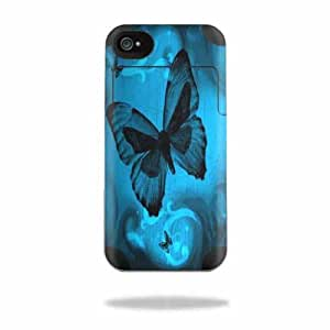 Mightyskins Protective Vinyl Skin Decal Cover for Mophie Juice Pack Air Apple iPhone 4/4S Battery Case wrap sticker skins Dark Butterfly