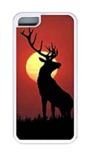 LJF phone case ipod touch 5 Case, Personalized Custom Rubber TPU White Case for ipod touch 5 - Horned Deer Cover