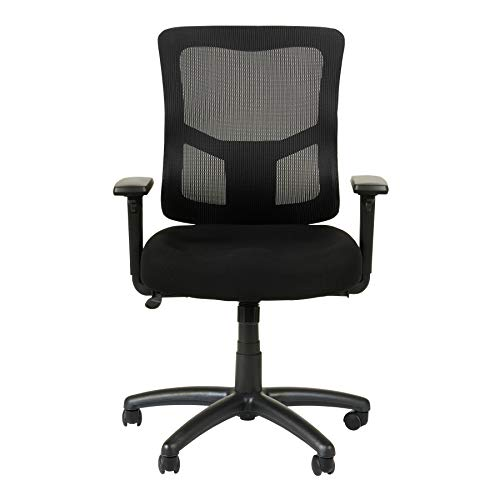 Alera ALEELT4214F Elusion II Series Mesh Mid-Back Swivel/Tilt Chair with Adjustable Arms, Black from Alera
