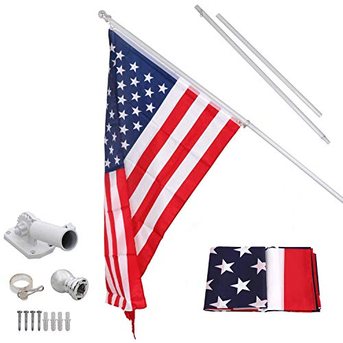 - Eastech 6FT Flag Pole w/ 3x5' American Flag | Heavy Duty Tangle Free Tillable Free Rust Free Wind Resistant 180° Rotatable | for School Home Office US Government Patriotic Lawn Garden Building Agency
