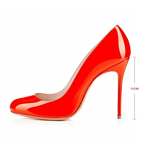 Joogo Round Toe Party Stilettos Slip On High Heels 4.7 inches Thin Heel Classics Pumps Orange o6bgyBb6