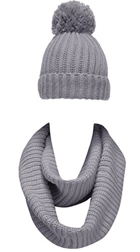 NEOSAN Women Winter Thick Knit Infinity Loop Scarf And Pom Pom Hat Set Plain Light Grey (Woven Scarf Plain)