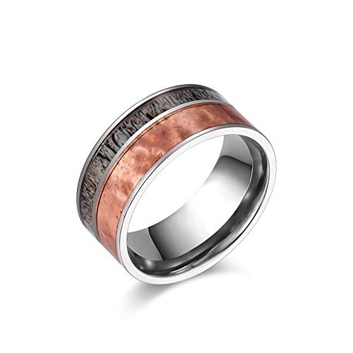 JAJAFOOK 10mm Men's Titanium Wedding Band with Antler and Hammered Copper Inlay Hunting Ring,Size 06-15