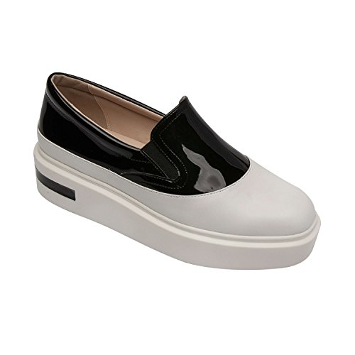 Pic & Pay OVELIA | Women's Platform Slip-On Two-Tone Comfortable Leather Fashion Sneaker White Leather/Black Vegan Patent 7.5M