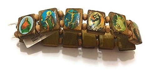 Elasticated Wooden Small Square Catholic Saints Bracelet, Assorted Catholic Images, 2.5 Inch