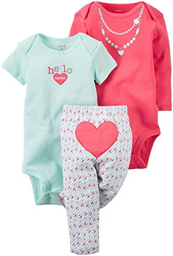Carter's Baby Girls' 3 Piece Back Art, Heart, (New Designer Baby Clothing)